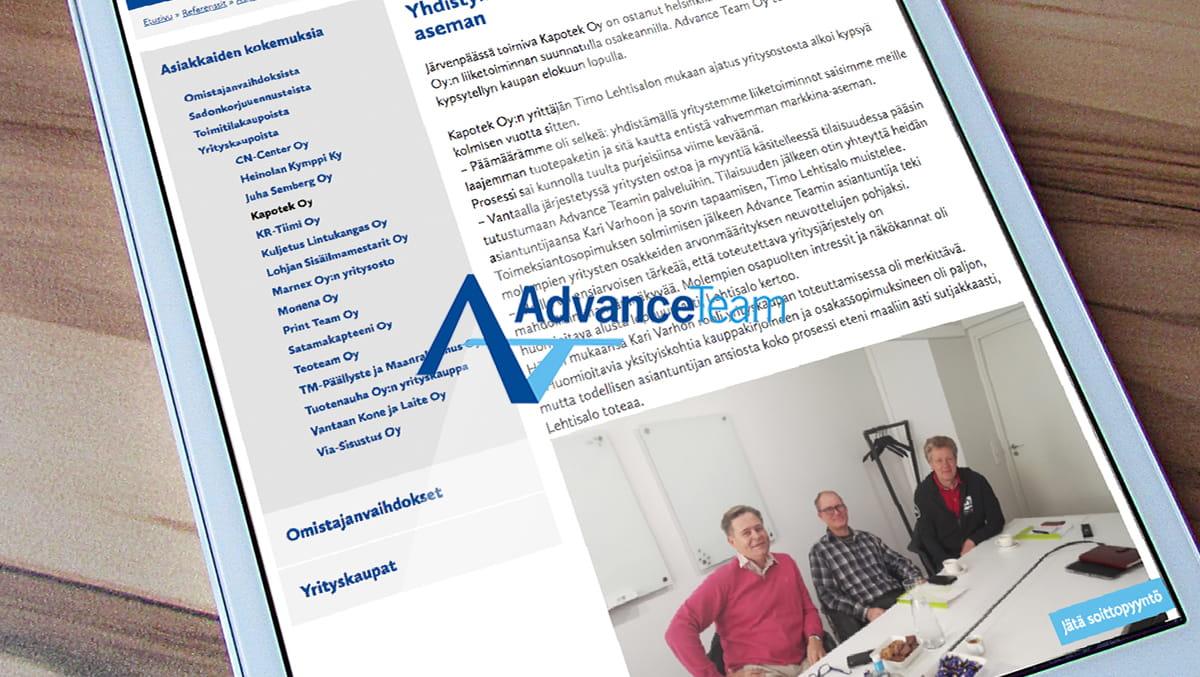 Advance team asiakkaiden kokemuksia